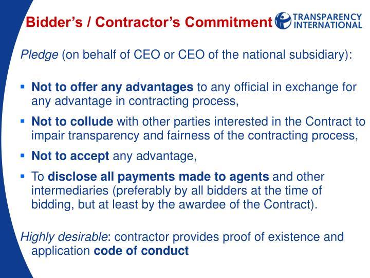 Bidder's / Contractor's Commitment