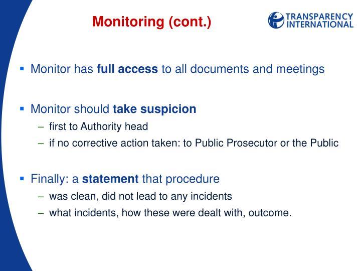 Monitoring (cont.)