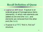 recall definition of queue