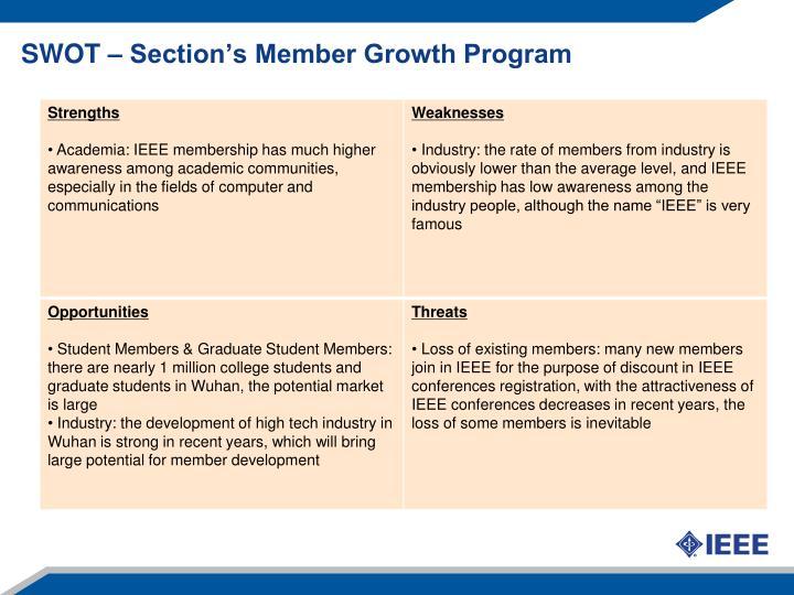 SWOT – Section's Member Growth Program