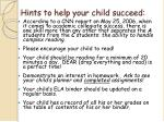 hints to help your child succeed