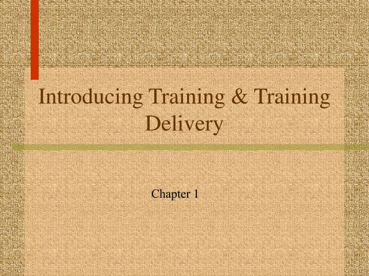 introducing training training delivery n.