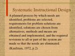systematic instructional design