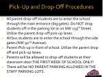 pick up and drop off procedures