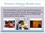 women s history month 201331
