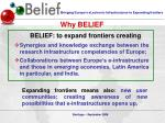 belief to expand frontiers creating