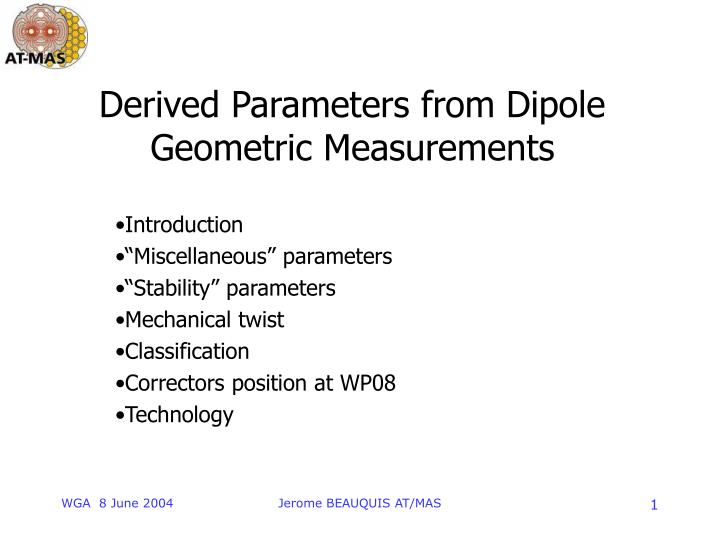 derived parameters from dipole geometric measurements n.
