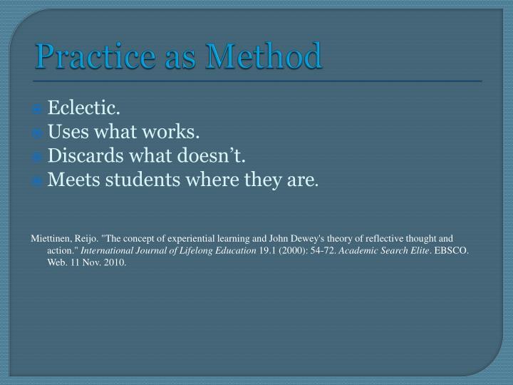 Practice as Method