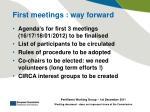 first meetings way forward