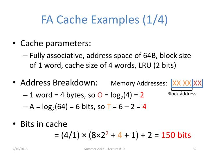 FA Cache Examples (1/4)