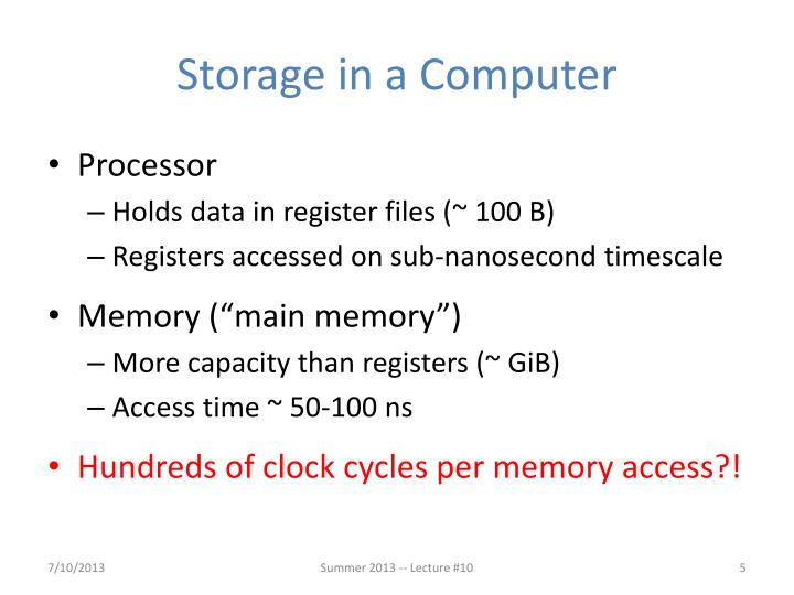 Storage in a Computer