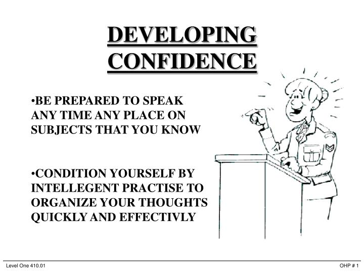 developing confidence n.