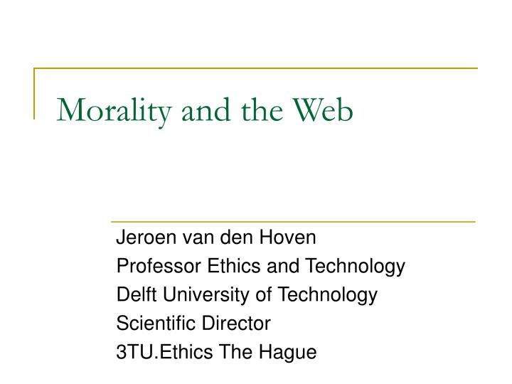 morality and the web n.
