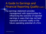 a guide to earnings and financial reporting quality cont