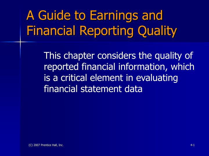 a guide to earnings and financial reporting quality n.