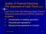 quality of financial reporting the statement of cash flows cont