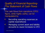 quality of financial reporting the statement of cash flows