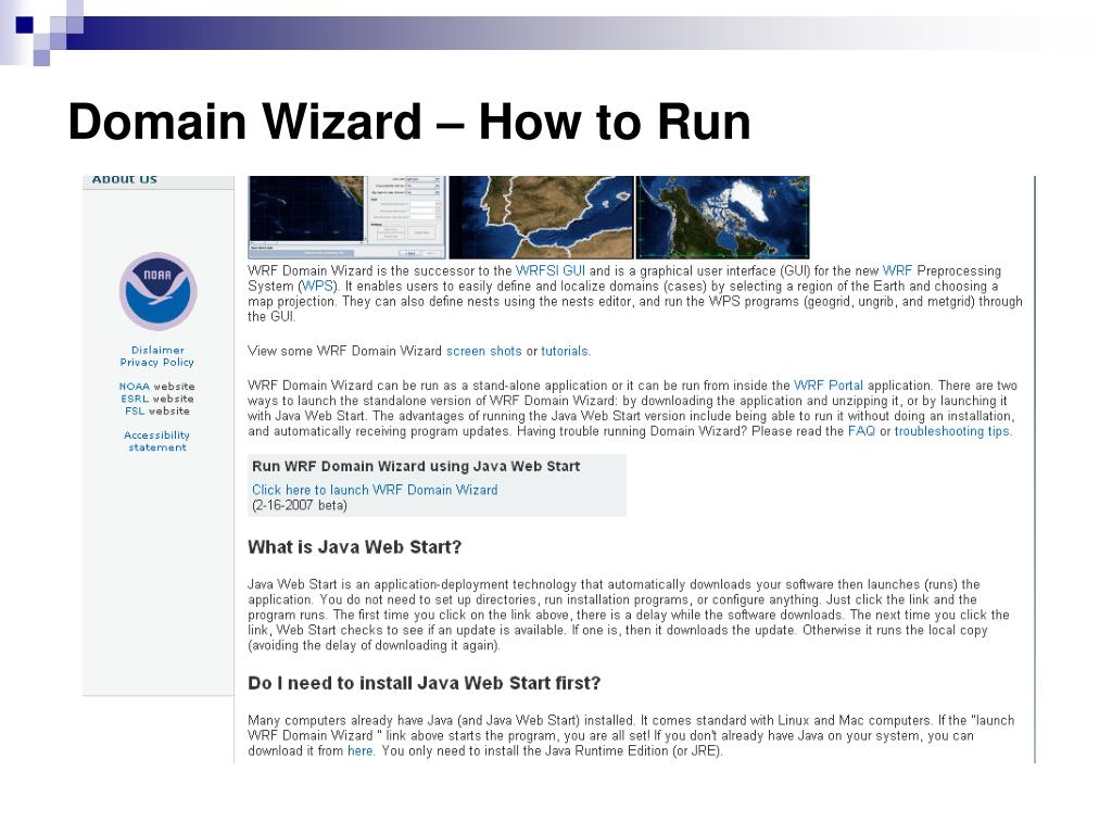 PPT - WRF Domain Wizard A tool for the WRF Preprocessing System Jeff