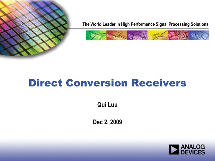 direct conversion receivers n.