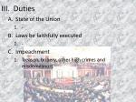iii duties