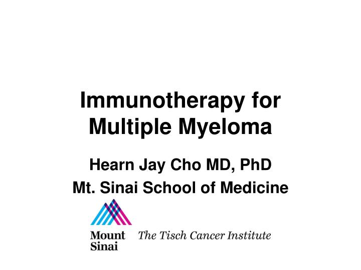 immunotherapy for multiple myeloma n.