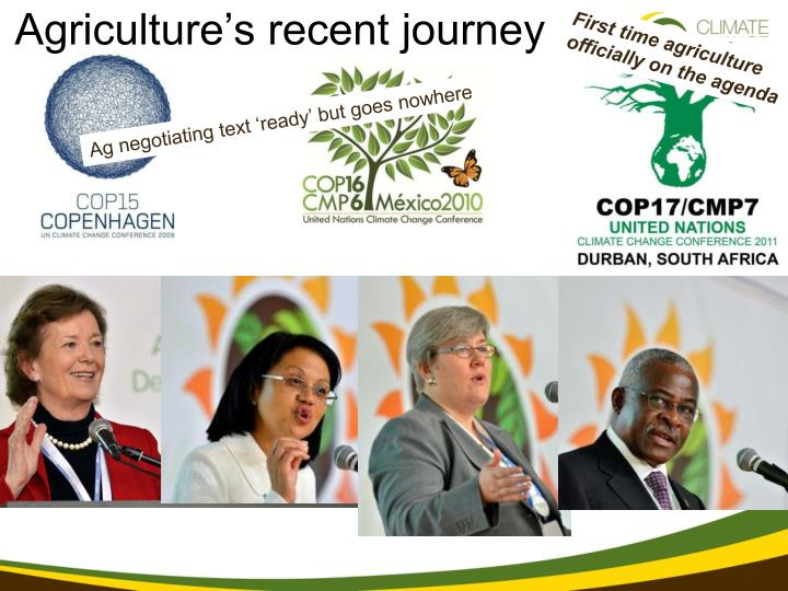Agriculture's recent journey