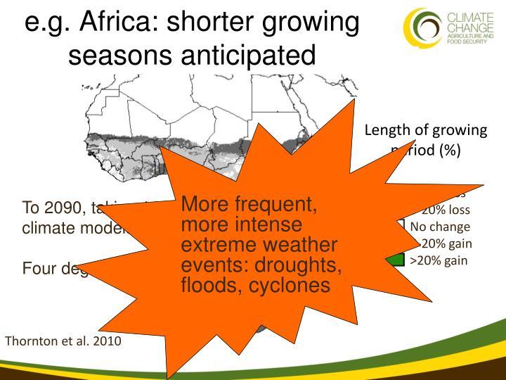 e.g. Africa: shorter growing seasons anticipated