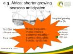 e g africa shorter growing seasons anticipated