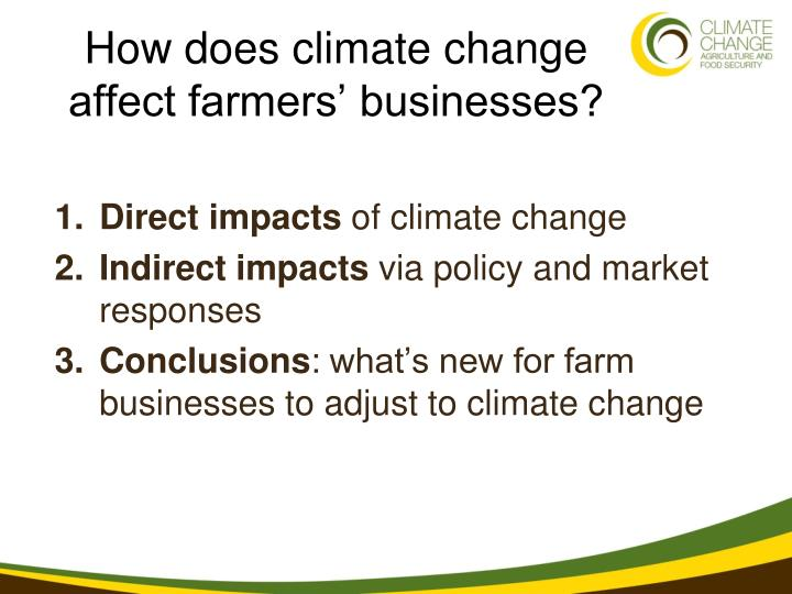 How does climate change affect farmers businesses
