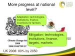 more progress at national level