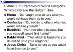 exhibit 3 7 examples of world religions which embrace the golden rule