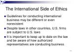 the international side of ethics