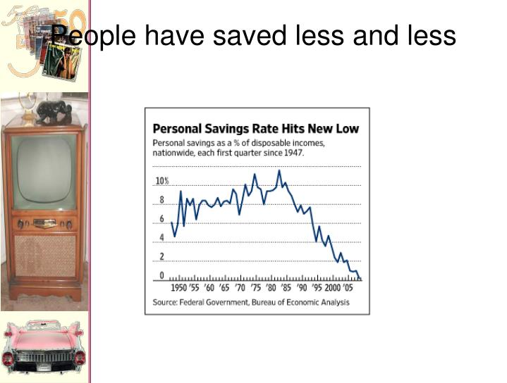People have saved less and less