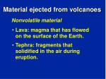 material ejected from volcanoes
