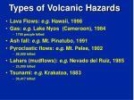 types of volcanic hazards
