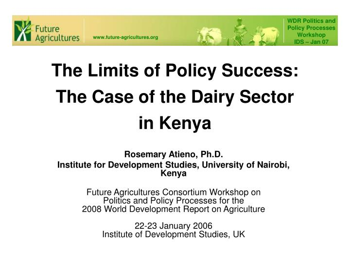 the limits of policy success the case of the dairy sector in kenya n.
