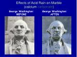 effects of acid rain on marble calcium carbonate