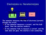electrolytes vs nonelectrolytes
