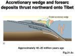 accretionary wedge and forearc deposits thrust northward onto tibet