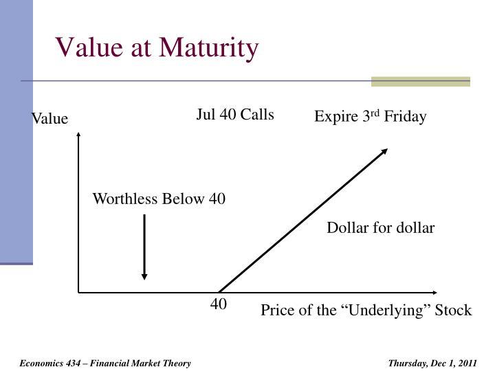 Value at Maturity
