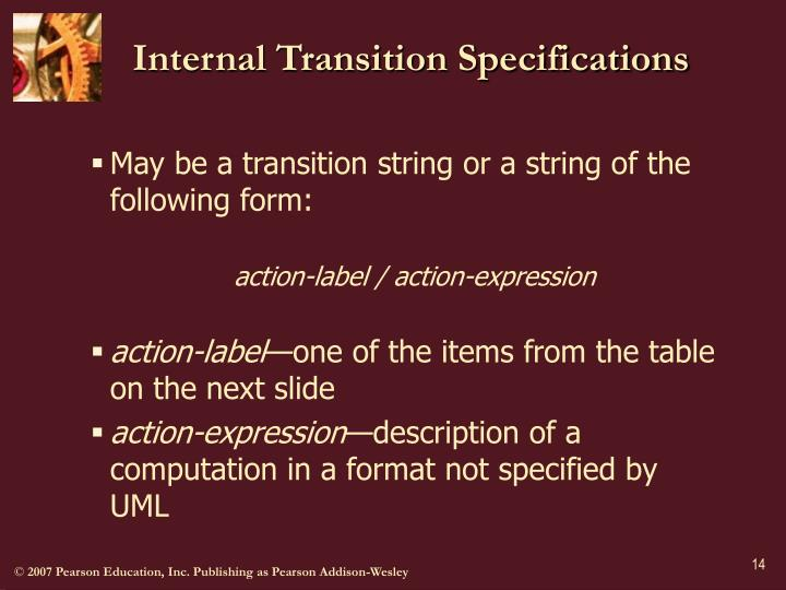 Internal Transition Specifications