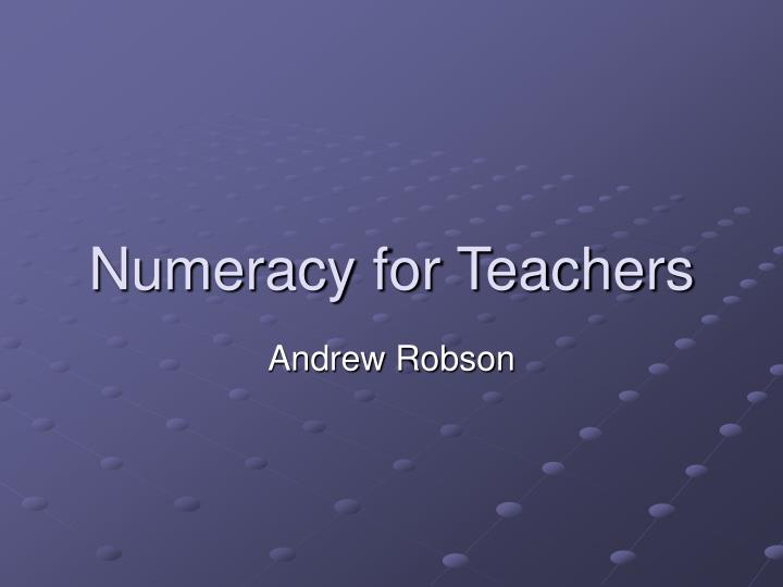 numeracy for teachers n.