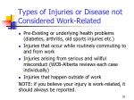 types of injuries or disease not considered work related