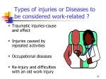 types of injuries or diseases to be considered work related
