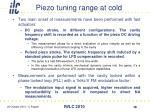 piezo tuning range at cold