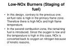 low nox burners staging of fuel