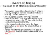 overfire air staging two stage or off stochiometric combustion