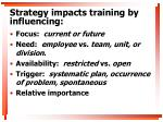 strategy impacts training by influencing