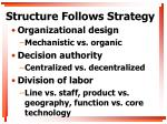 structure follows strategy