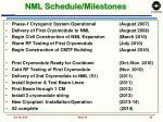 nml schedule milestones